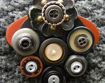 Art Brooch - Flower & Buttons - Found Object Jewelry by Jen Hardwick