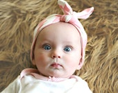 Organic Chevron Baby Headband in Soft Pink- Top-knot headband interlock knit , Knotted Baby Headband in Pink and White