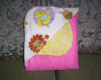 Hooded Baby Blanket with Burp Cloth