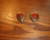 vintage clip on earrings lucite gold red