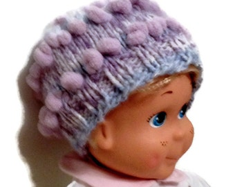 Winter Hat Beanie for Toddler Girl  Hand Knit Fancy  Yarn Pastel Colors