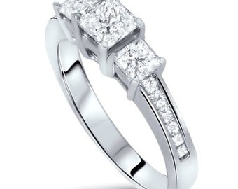 Diamond Engaement Ring Princess Cut  Three STone 1.10CT Princess Cut 3-Stone Three Diamond Channel Set Engagement Ring 14 KT White Gold
