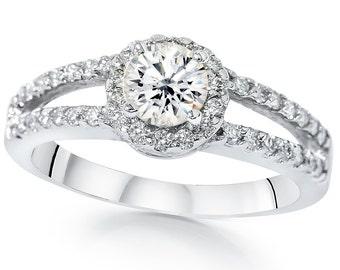 1.00CT Diamond Split Shank Halo Engagement Ring 14 KT White Gold 1/2Ct Center Stone, Diamond Ring, Split Shank,Engagement Ring,Gifts For Her