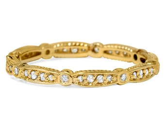 3/4CT Stackable Diamond Eternity Ring 14 KT Yellow Gold Womens Wedding Anniversary Band