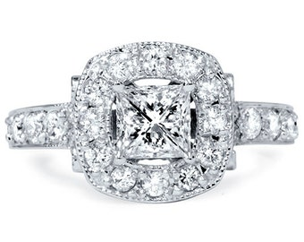 2.35CT Princess Cut Vintage Diamond 1.00CT Center Engagement Ring 14K White Gold