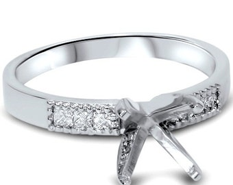 Diamond 1/4CT Princess Cut Engagement Ring Semi Mount 14K White Gold