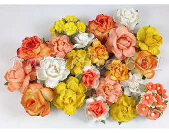 40 Mixed Size of Yellow Tangerine Handmade Mulberry Paper Flowers Wedding Roses