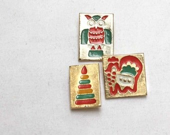 Soviet Vintage Pins. Set of 3 Toy Themed Badges. Small Shiny and Brightly Coloured. Children.
