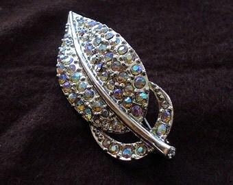60s Aurora Borealis Rhinestone Silver Leaf Brooch