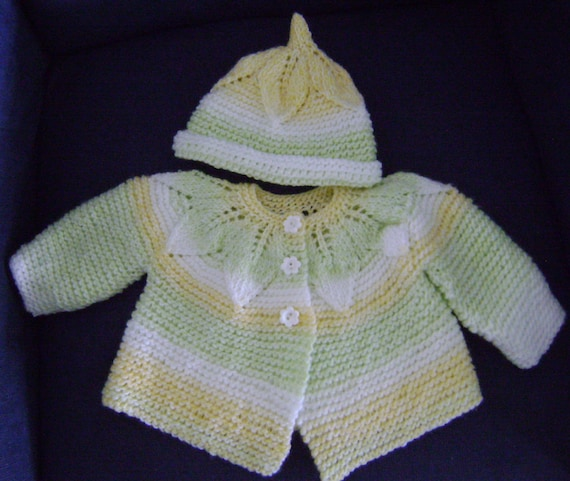 Knit Leaf Pattern Baby Sweater : Leaf Motif Baby Sweater and Hat