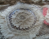 "ON HOLD SALE Absolutely Rare Gorgeous Ecru Antique Handmade Battenburg Tape Lace Tablecloth/Shawl 76"" Diameter"