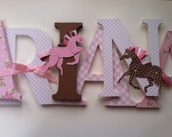 Horse themed wooden letters  for nursery spelling out your child's name