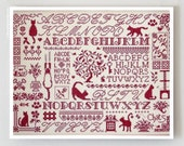 Sampler aux Chats : Jardin Prive French cross stitch patterns kitty cats Nathalie Cichon sampler meow counted hand embroidery