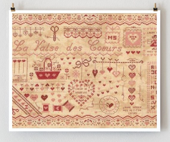 LAST ONE French cross stitch patterns : Waltz of Hearts Marie Suarez wedding memory heirloom counted hand embroidery