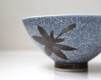 Mid Century Porcelain Bowl Pedestal Rice Bowl Hand Painted Japan