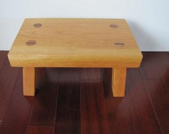 handmade wood footstool solid Cherry step stool