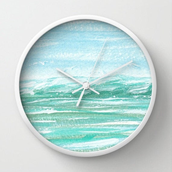 Aqua Wall Clock Seagull Clock Ocean Art Beach By
