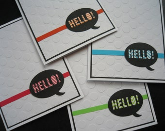 Blank Card Set of 4, Washi Tape Hello Cards, Modern Thank You Cards Set