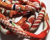 Chirimen fabric, Japanese Chirimen kimono fabric cord, diy jewelry, fabric cord, textile jewelry, kimono fabric  c11