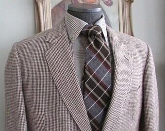 Vintage Mens Quality Bespoke British Style Tweed Blazer Multi Color Brown See Pics  No Tag About 38 40  Medium