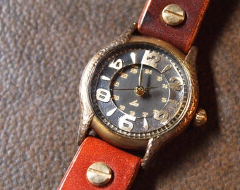 Vintage Woman Handcraft Wrist Watch with Leather Band /// SackSackW - Perfect Gift for Birthday and Anniversary