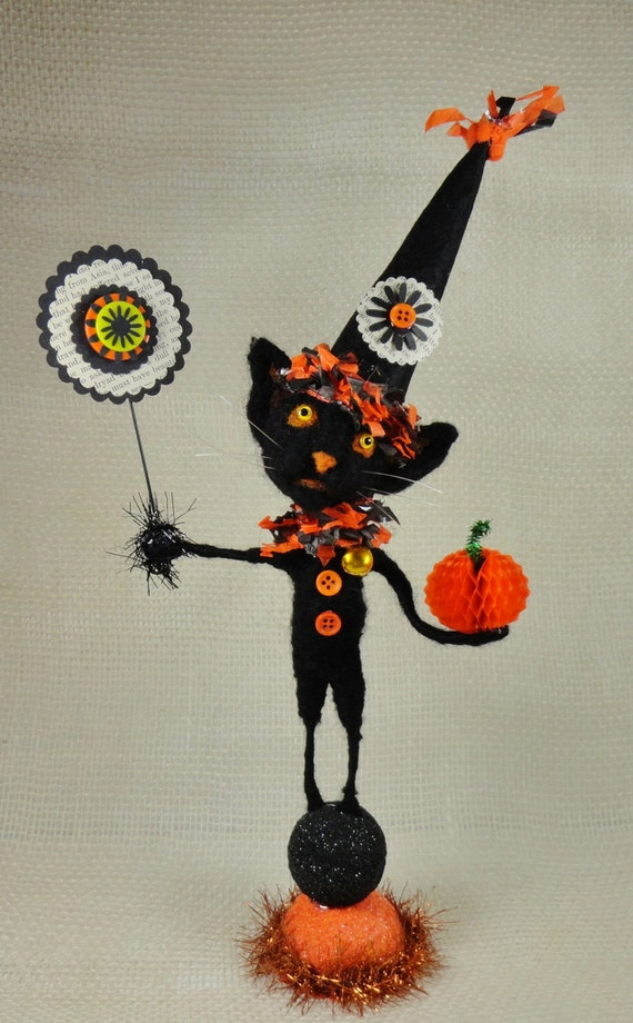 "Halloween 12-1/2"" Black Kitten wool needlefelted Cat sign orange and black tinsel buttons Trick or Treat - Blackie"