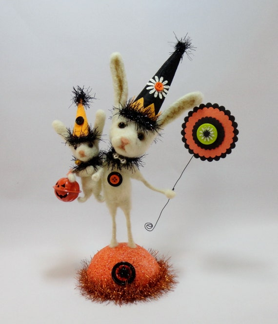 "10"" Halloween Bunny Rabbit wool needle felted glass eyes orange mercury glass black tinsel Trick or Treat - Brothers Boo"