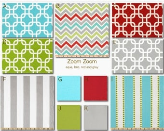 Crib Bedding- Custom Bedding-Duvet Cover- Dorm Bedding- Glider Cushions- Zoom Zoom- aqua, gray and red