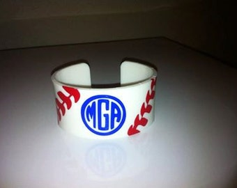 GAME DAY Personalized Acrylic Cuff With Baseball Laces