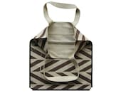Linen tote Brown ZIGZAG printes linen market tote by Lovely Home Idea