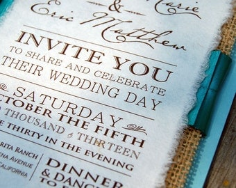 NEW- D-I-Y Modern Type Playbill Wedding Invitation With Pleated Ribbon- Rustic Burlap Wedding Invitation