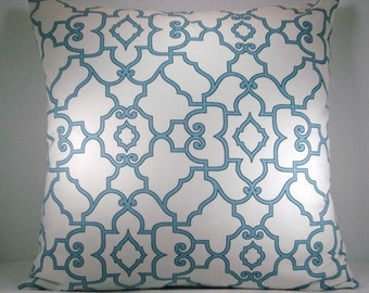 Blue Trellis Fretwork Covington Mariner Blue Decorative Accent Pillow 20X20 Pillow Cover