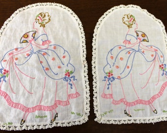 Vintage Set of 2 Doilies Embroidered w/Victorian Women (E1285)