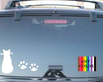 Cat and  paws  --choose size & personalization-  western vinyl decal car laptop sticker wall art  All colors available