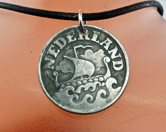 1942 COIN NECKLACE NETHERLANDS. Amsterdam  jewelry. dutch pendant cent . viking ship . eco-friendly. recycled  No.001940