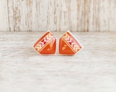 Vermillion Pueblo Post Earrings - Hypoallergenic Surgical Stainless Steel Posts - Orange Tribal Chevron Post Earrings - DittyDrops