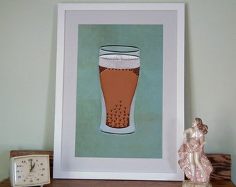 Beer Poster, Bar Art Print, Quilled Pale Ale in a Glass, Man Cave Decor, IPA, quilling art print, Paper art print, 12x18in, Ready to ship