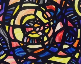 """Original Abstract Acrylic Stained Glass Window 20"""" x 20"""" Painting by Sara Larson Art"""