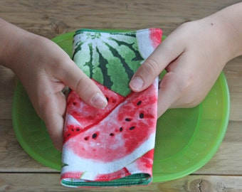Lunchbox Napkins - Summer Watermelon - Reversible Small Sized Napkins