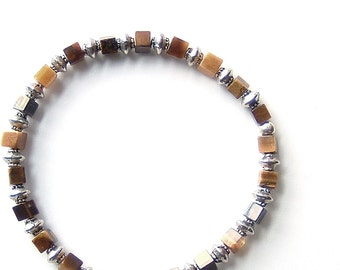 Earthy Brown Stretch Bracelet of Tiger Eye Gemstones