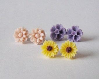 Set of 3 pairs of posts - dusty powder pink, purple, sunflower floral earrings