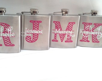 4 flasks, Bridesmaid flask, 6 ounce, stainless steel personalized flask.  Bridesmaid and Maid of honor gift.  Chevron monogram and name