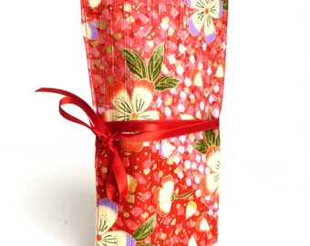 Travel jewelry roll Kimono Red - Made to order