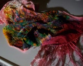 "Silk velvet scarf  -  large -  Spring Awakening  - Hand dyed and painted scarf - 11"" x 56"""