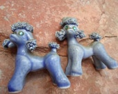 Blue Spaghetti French Poodles 1950s Vintage figurines