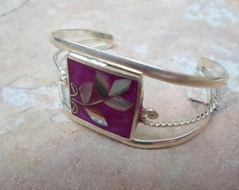 1960 Art Nouveau Mexican Alpaca Silver and Abalone Shell  Bracelet