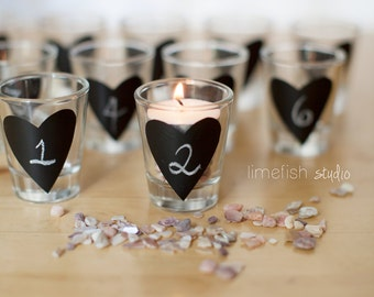 Chalkboard Heart STICKERS . Shot Glass Size . Wedding Favors . Unique Gifts . Table Numbers