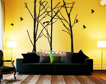 """Wall Decal, wall Stickers ,Tree Wall Decals ,Wall decals, Removable, 3 Staggered Branch Tree & birds 96""""H"""