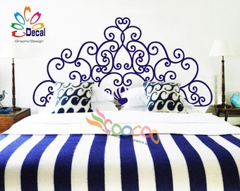 Headboard Decal Vinyl Wall Decal Floral Pattern King Queen Full Twin Size