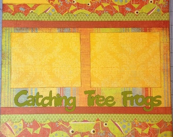 Catching Tree Frogs - 12x12 Premade 2 Page Scrapbook Layout